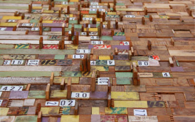 Visualizing Big Data with recycled cardboard, junk mail, gallery cards and more.